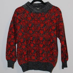 VTG Red And Grey Pattern Sweater